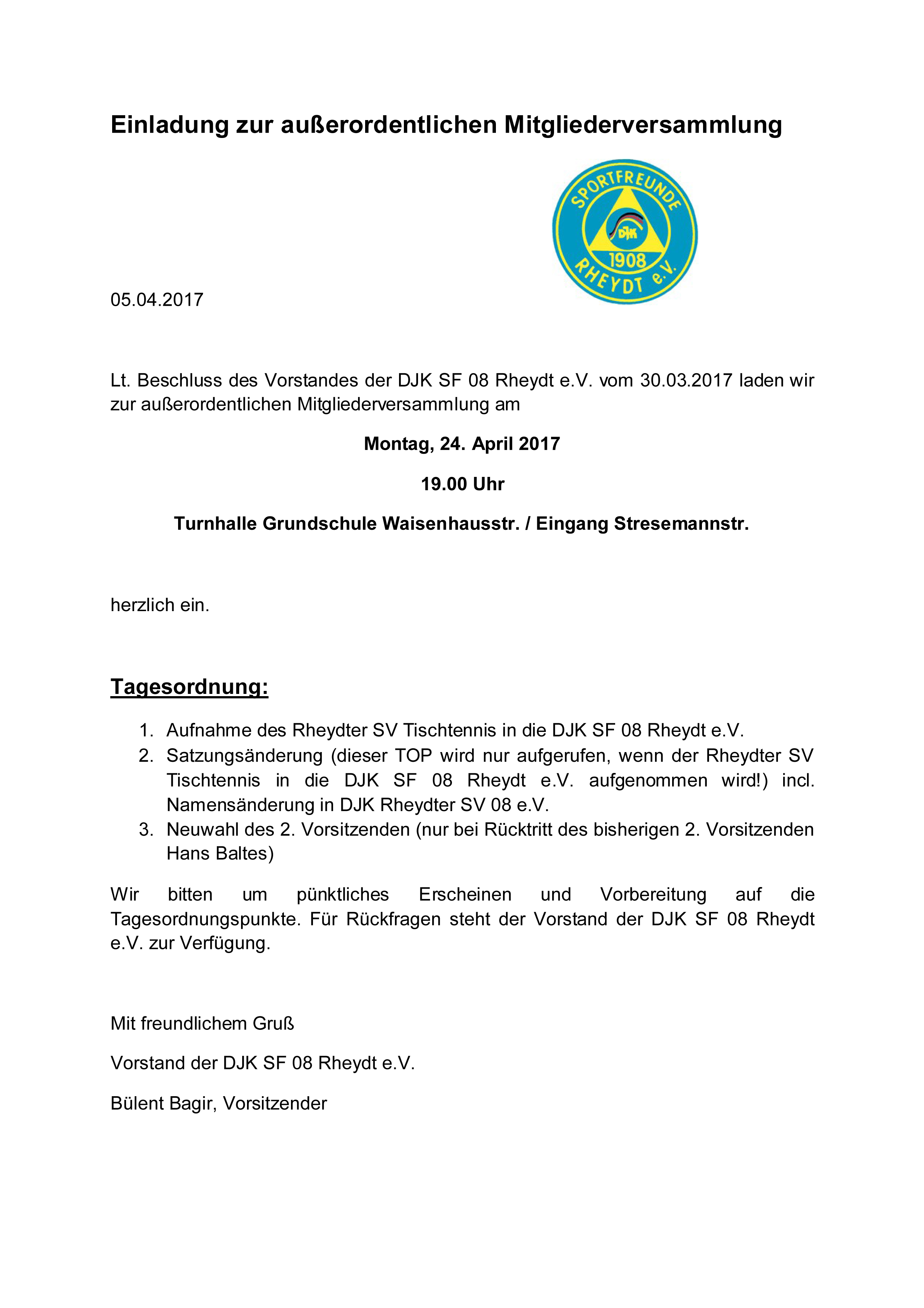 einladung zur außerordentlichen mitgliederversammlung », Einladung